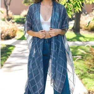 Blue Windowpane Longbody Open Tassel Kimono